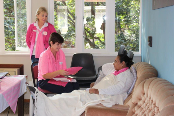 """Roleplay is an important part of the training:  """"Patient"""" Indera Maharaj, Trainee Tammy Du Plessis with Anette, the facilitator, watching on to guide and evaluate."""